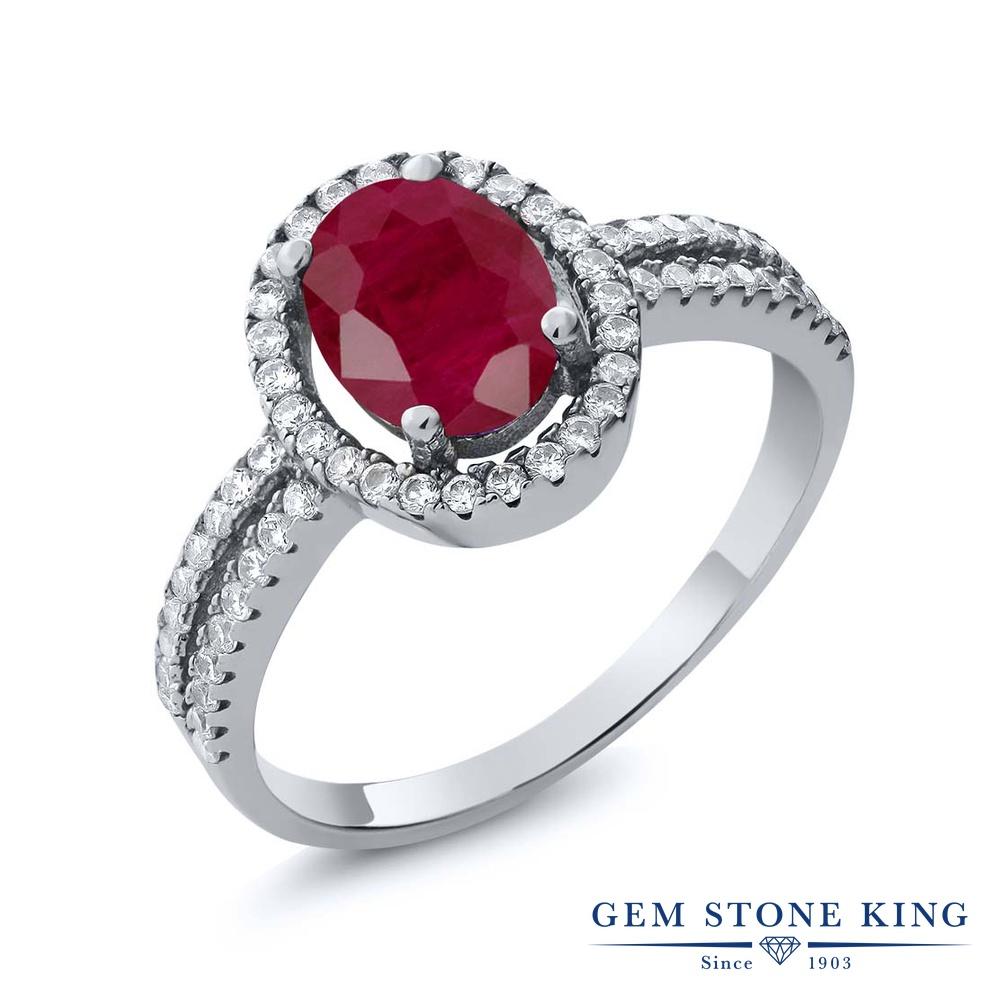 Gem Stone King 2.65カラット 天然 ルビー シルバー925 指輪 リング レディース 大粒 ヘイロー 天然石 7月 誕生石 金属アレルギー対応 婚約指輪 エンゲージリング