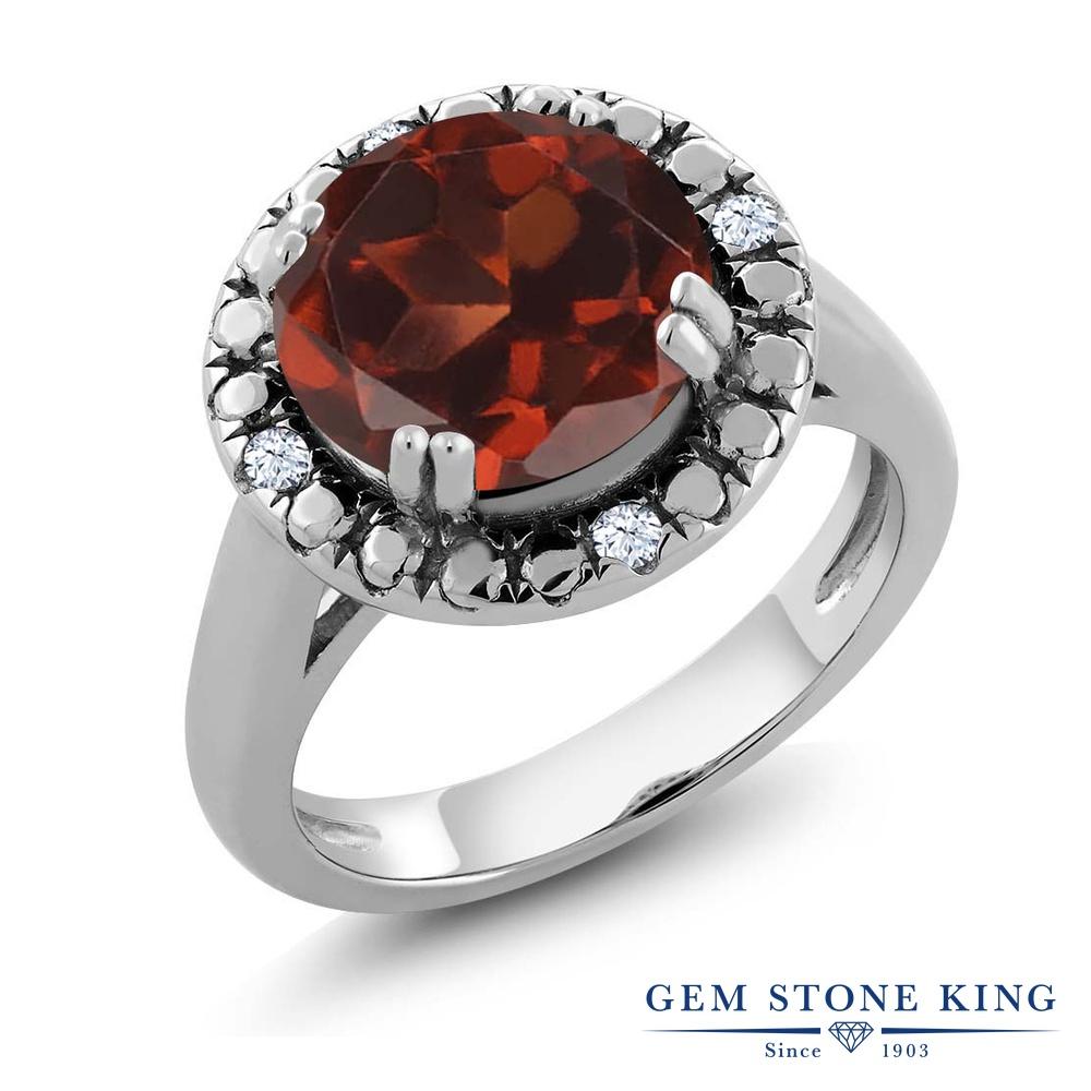 Gem Stone King 3.64カラット 天然 ガーネット 合成ホワイトサファイア (ダイヤのような無色透明) 指輪 リング レディース シルバー925 大粒 ソリティア 天然石 1月 誕生石 金属アレルギー対応