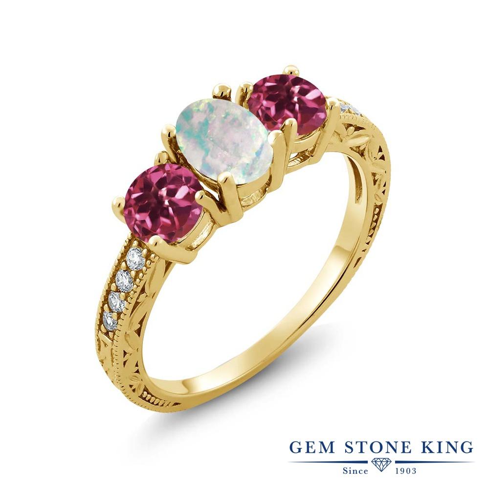 Gem Stone King 1.75カラット シミュレイテッド ホワイトオパール AAグレード 天然 ピンクトルマリン シルバー925 イエローゴールドコーティング 指輪 リング レディース スリーストーン 10月 誕生石 金属アレルギー対応 誕生日プレゼント