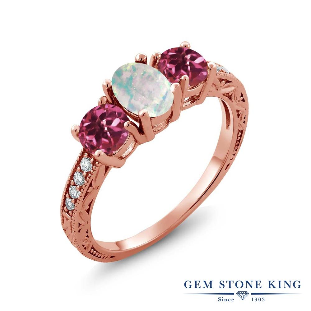 【10%OFF】 Gem Stone King 1.75カラット シミュレイテッド ホワイトオパール AAAグレード 天然 ピンクトルマリン 指輪 リング レディース シルバー925 ピンクゴールド 加工 スリーストーン 10月 誕生石 クリスマスプレゼント 女性 彼女 妻 誕生日