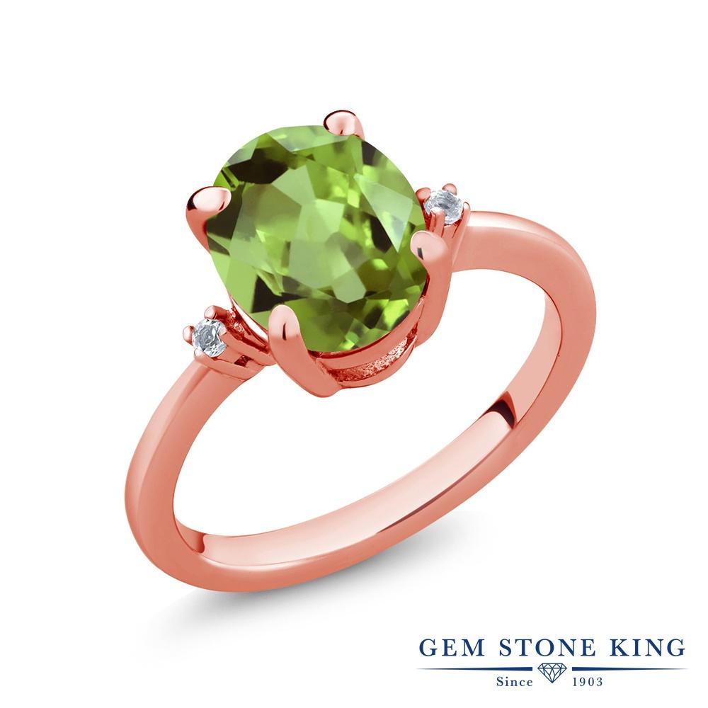 【10%OFF】 Gem Stone King 3.04カラット 天然石 ペリドット 天然 トパーズ 指輪 リング レディース シルバー925 ピンクゴールド 加工 大粒 シンプル ソリティア 8月 誕生石 クリスマスプレゼント 女性 彼女 妻 誕生日