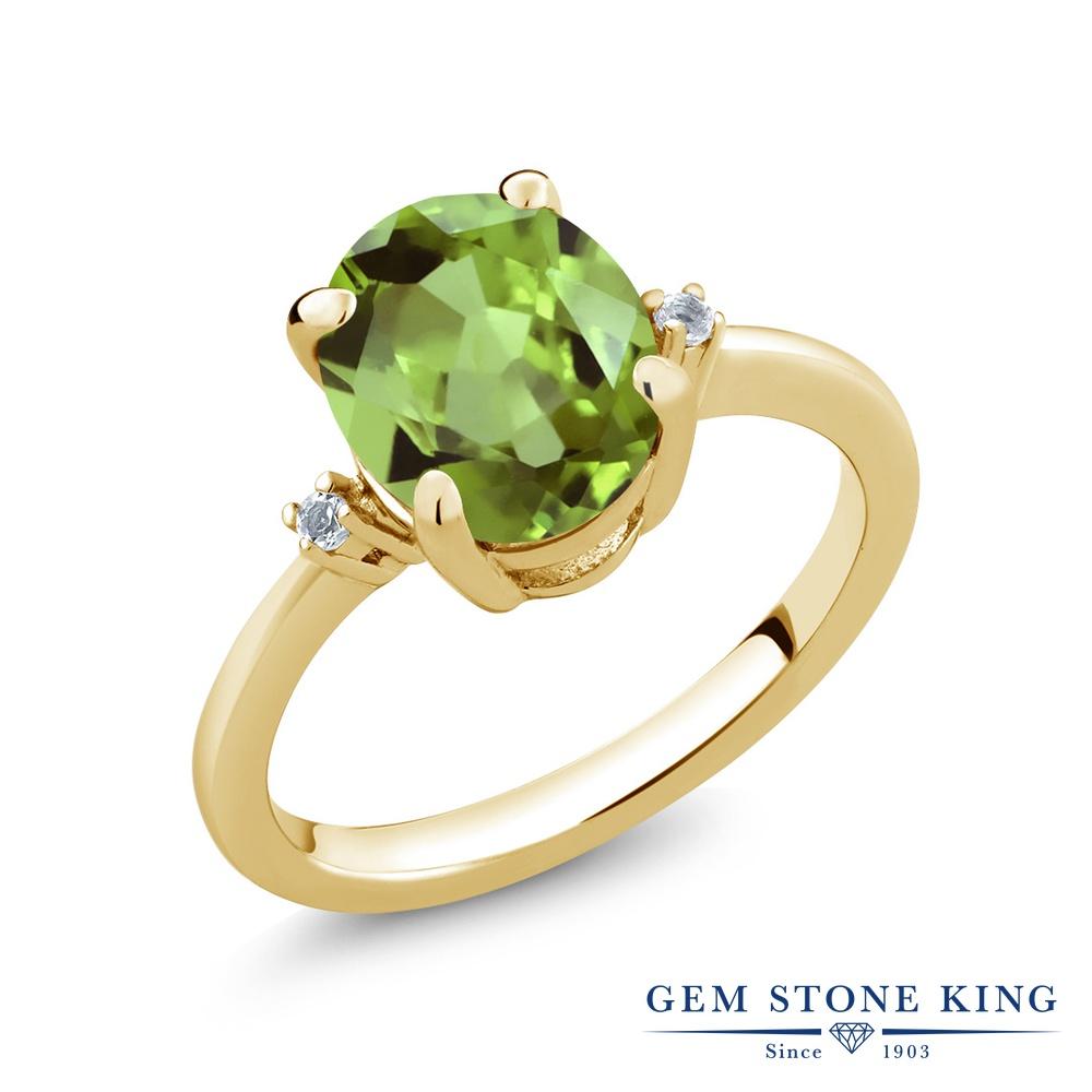 Gem Stone King 3.04カラット 天然石 ペリドット 天然 トパーズ (無色透明) シルバー925 イエローゴールドコーティング 指輪 リング レディース 大粒 シンプル ソリティア 天然石 8月 誕生石 金属アレルギー対応 誕生日プレゼント