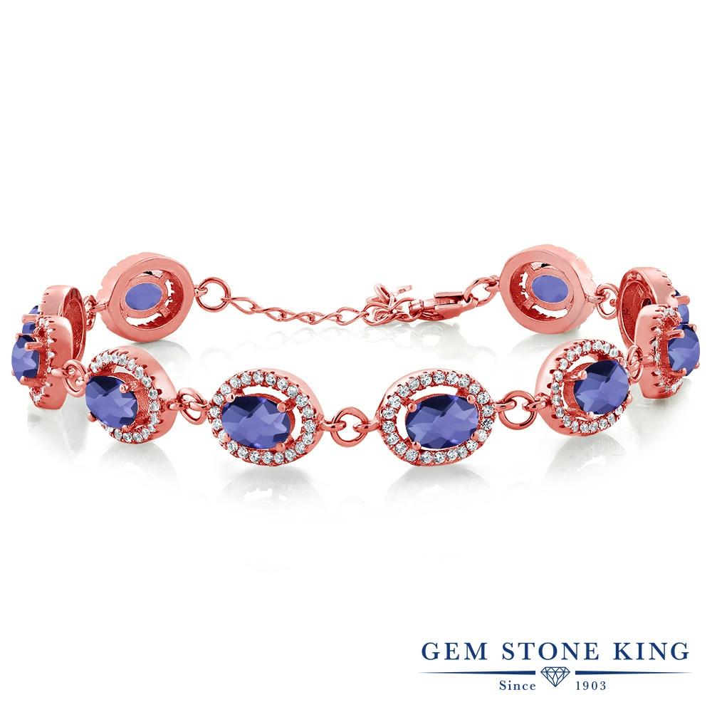 Gem Stone King 9.38カラット 天然 アイオライト (ブルー) シルバー925 ピンクゴールドコーティング ブレスレット テニスブレスレット レディース 大ぶり 天然石 金属アレルギー対応 誕生日プレゼント
