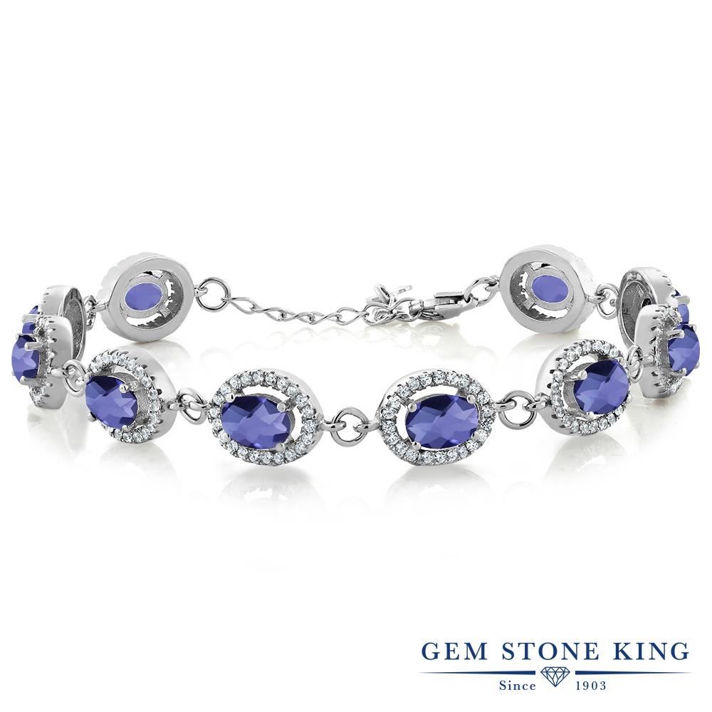 Gem Stone King 9.38カラット 天然 アイオライト (ブルー) シルバー925 ブレスレット テニスブレスレット レディース 大ぶり 天然石 金属アレルギー対応 誕生日プレゼント