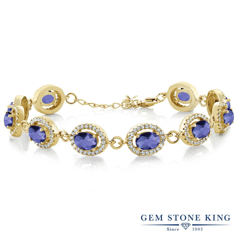 Gem Stone King 9.38カラット 天然 アイオライト (ブルー) シルバー925 イエローゴールドコーティング ブレスレット テニスブレスレット レディース 大ぶり 天然石 金属アレルギー対応 誕生日プレゼント