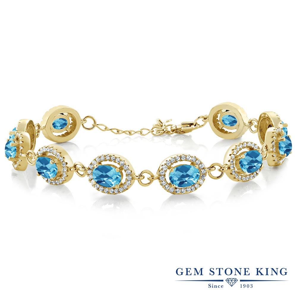 Gem Stone King 12.38カラット 天然 スイスブルートパーズ シルバー925 イエローゴールドコーティング ブレスレット テニスブレスレット レディース 大ぶり 天然石 11月 誕生石 金属アレルギー対応 誕生日プレゼント
