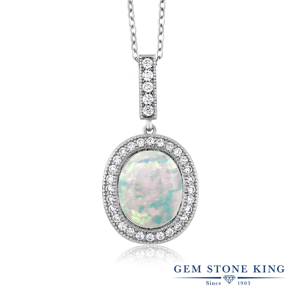Gem Stone King 4.41カラット シミュレイテッド ホワイトオパール シルバー925 ネックレス ペンダント レディース 大粒 大ぶり 10月 誕生石 金属アレルギー対応 誕生日プレゼント
