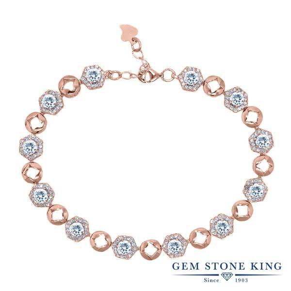 Gem Stone King 5.45カラット 天然 アクアマリン シルバー925 ピンクゴールドコーティング ブレスレット テニスブレスレット レディース 小粒 大ぶり 天然石 3月 誕生石 金属アレルギー対応 誕生日プレゼント