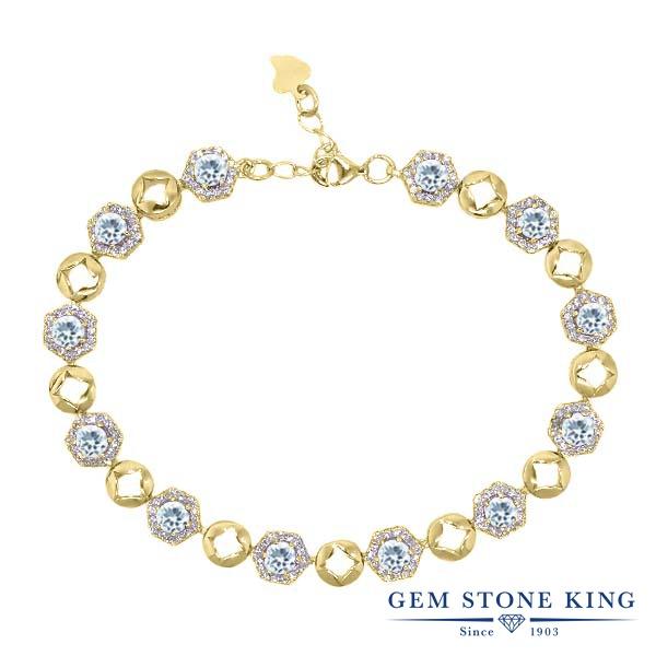 Gem Stone King 5.45カラット 天然 アクアマリン シルバー925 イエローゴールドコーティング ブレスレット テニスブレスレット レディース 小粒 大ぶり 天然石 3月 誕生石 金属アレルギー対応 誕生日プレゼント