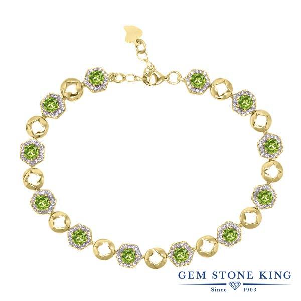 Gem Stone King 6.41カラット 天然石 ペリドット シルバー925 イエローゴールドコーティング ブレスレット テニスブレスレット レディース 小粒 大ぶり 天然石 8月 誕生石 金属アレルギー対応 誕生日プレゼント