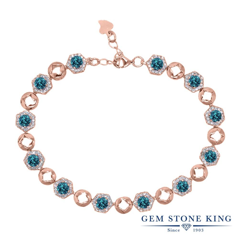 Gem Stone King 6.41カラット 天然 ロンドンブルートパーズ シルバー925 ピンクゴールドコーティング ブレスレット テニスブレスレット レディース 小粒 大ぶり 天然石 11月 誕生石 金属アレルギー対応 誕生日プレゼント