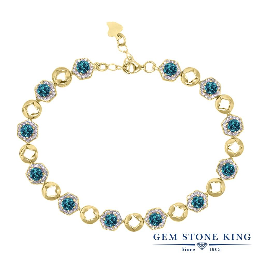 Gem Stone King 6.41カラット 天然 ロンドンブルートパーズ シルバー925 イエローゴールドコーティング ブレスレット テニスブレスレット レディース 小粒 大ぶり 天然石 11月 誕生石 金属アレルギー対応 誕生日プレゼント