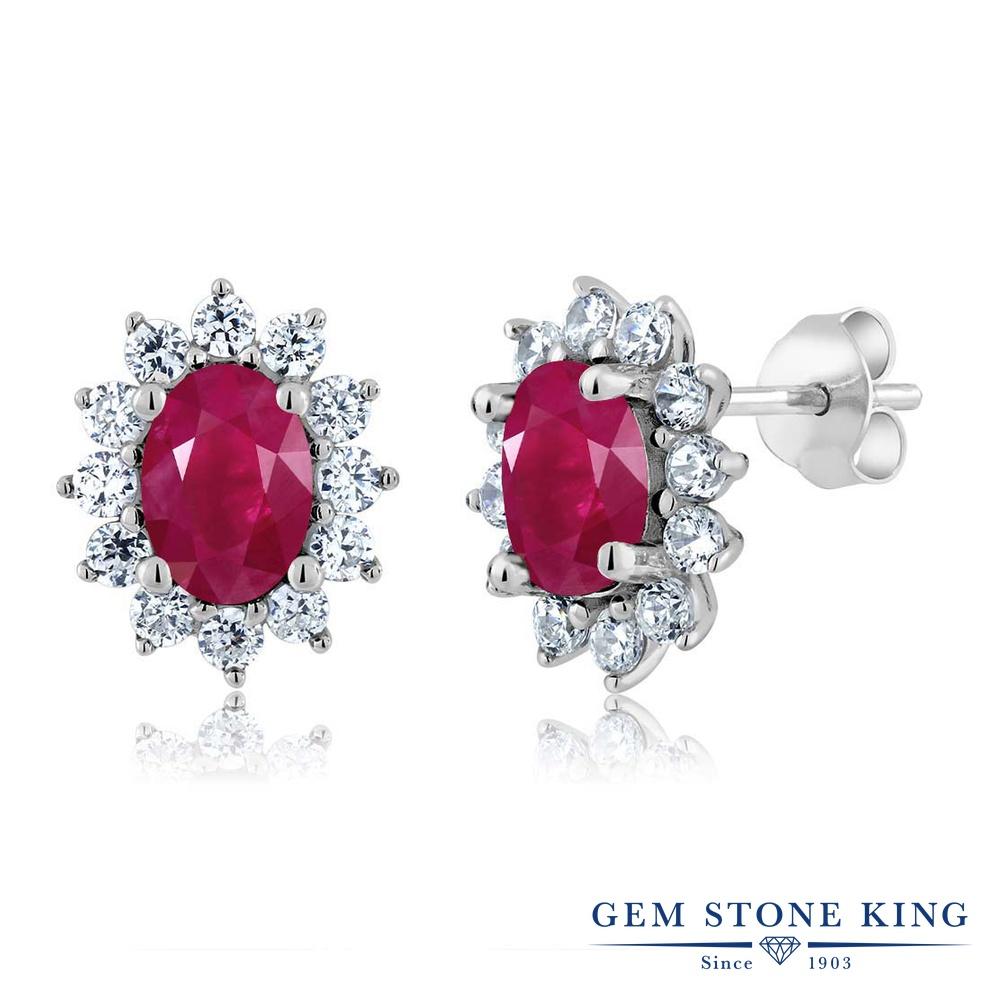 Gem Stone King 2.76カラット 天然 ルビー シルバー925 ピアス レディース 大粒 スタッド 天然石 7月 誕生石 金属アレルギー対応 誕生日プレゼント