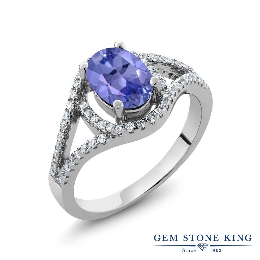 Gem Stone King 1.87カラット 天然石 タンザナイト シルバー925 指輪 リング レディース 大粒 天然石 12月 誕生石 金属アレルギー対応 誕生日プレゼント