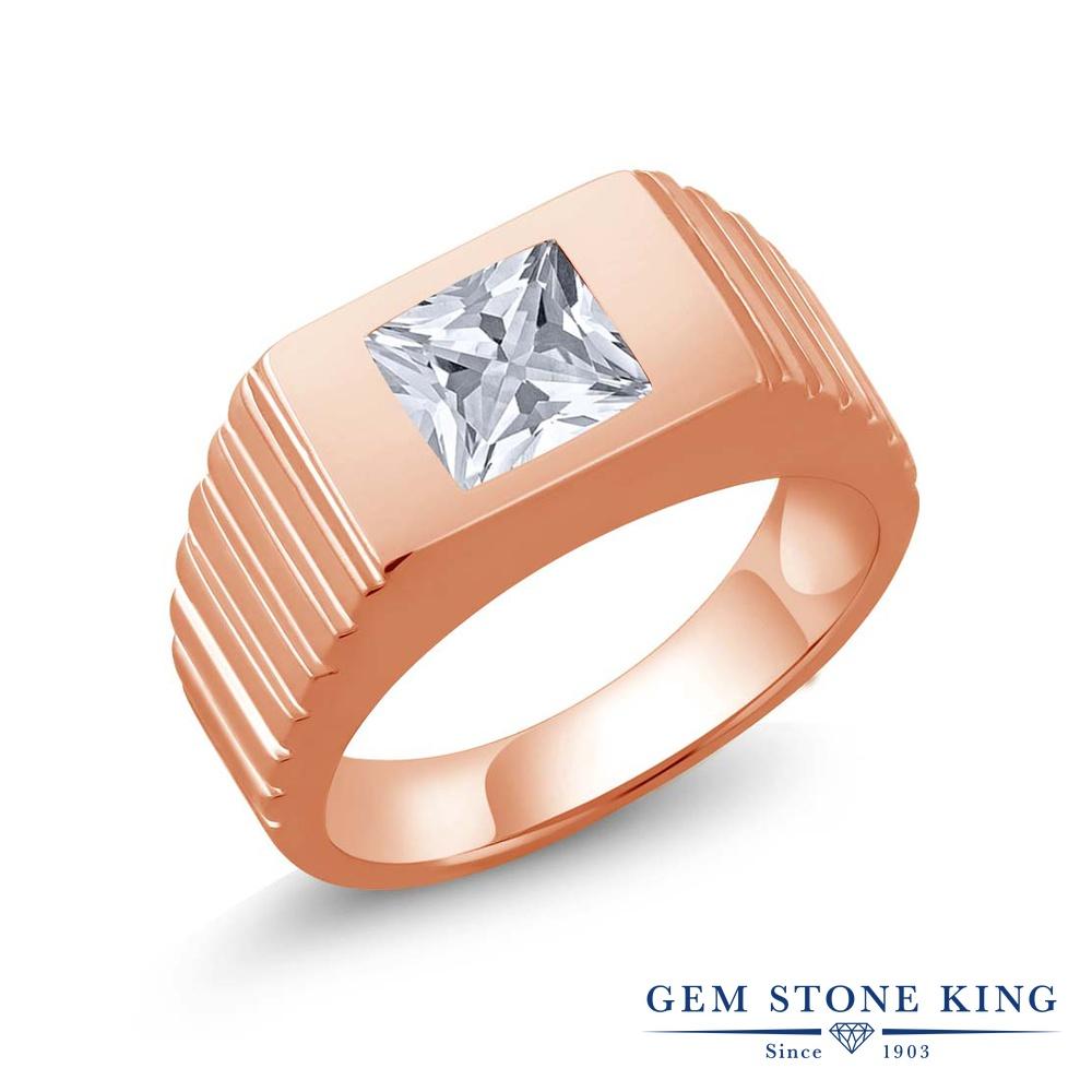 ジルコニア 指輪 レディース リング ピンクゴールド 加工 シルバー925 ブランド おしゃれ 一粒 CZ 白 大粒 シンプル ソリティア 金属アレルギー対応