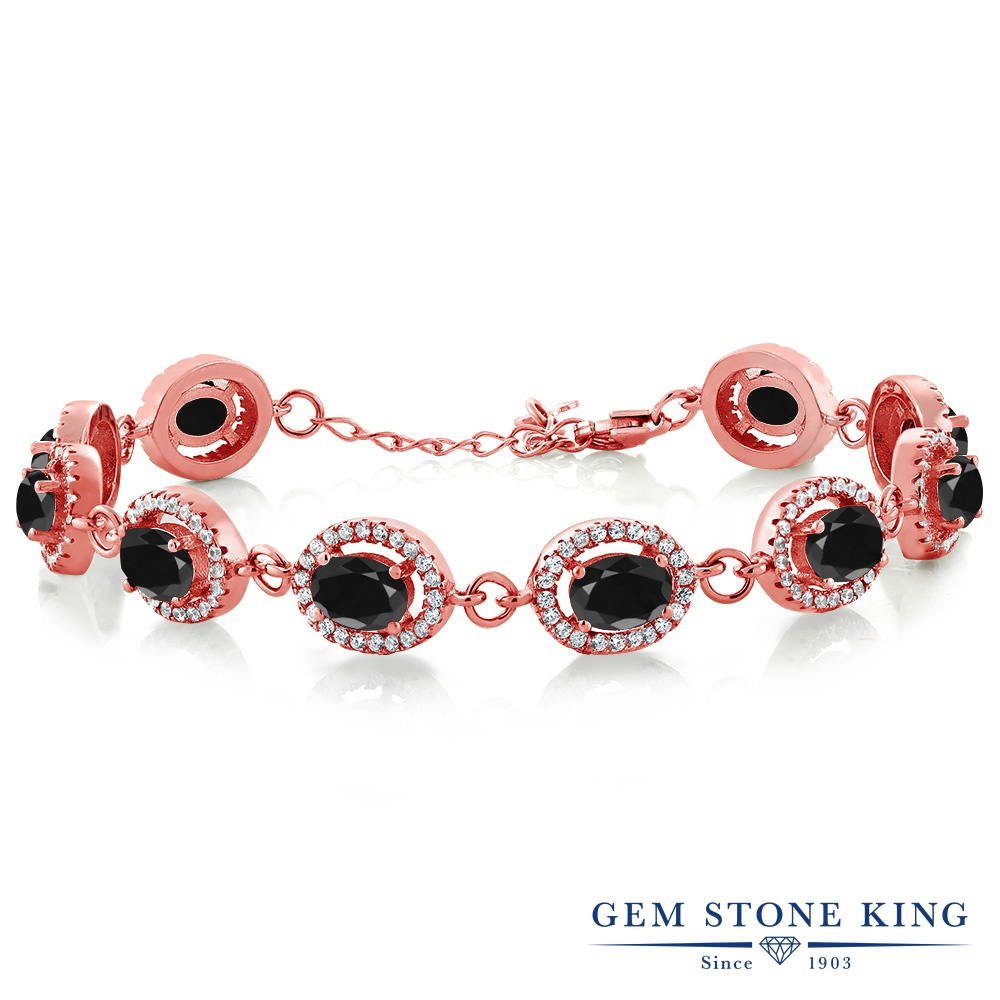 Gem Stone King 13.58カラット 天然 ブラックサファイア シルバー925 ピンクゴールドコーティング ブレスレット テニスブレスレット レディース 大粒 大ぶり 天然石 9月 誕生石 金属アレルギー対応 誕生日プレゼント