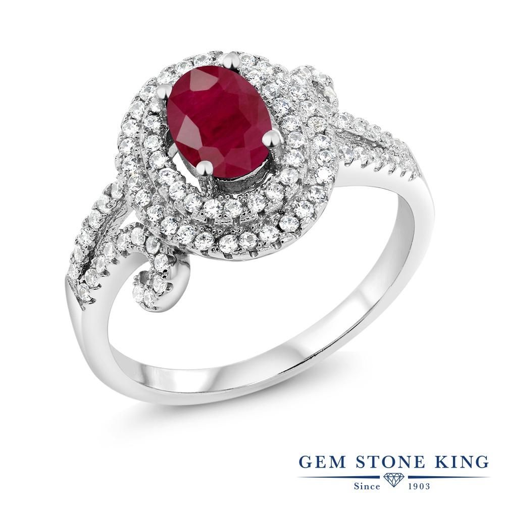 Gem Stone King 2.27カラット 天然 ルビー シルバー925 指輪 リング レディース 大粒 ヘイロー 天然石 7月 誕生石 金属アレルギー対応 誕生日プレゼント