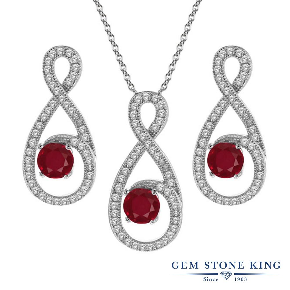 Gem Stone King 3.48カラット 天然 ルビー シルバー925 ペンダント&ピアスセット レディース 大ぶり 天然石 7月 誕生石 金属アレルギー対応 誕生日プレゼント