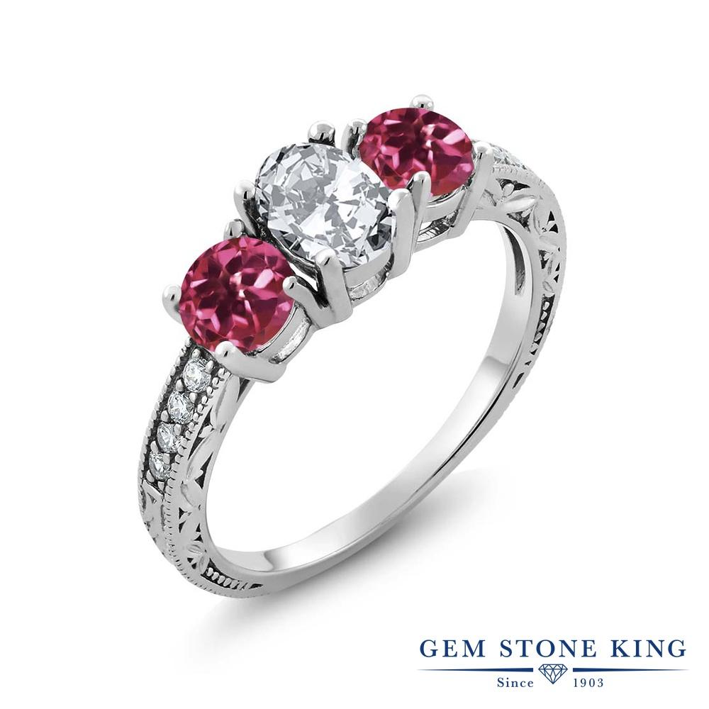 Gem Stone King 2.62カラット ジルコニア (無色透明) AAAグレード 天然 ピンクトルマリン シルバー925 指輪 リング レディース CZ 大粒 スリーストーン 金属アレルギー対応 誕生日プレゼント