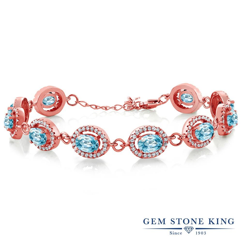 Gem Stone King 14.88カラット 天然石 ブルージルコン シルバー925 ピンクゴールドコーティング ブレスレット テニスブレスレット レディース 大粒 大ぶり 天然石 12月 誕生石 金属アレルギー対応 誕生日プレゼント