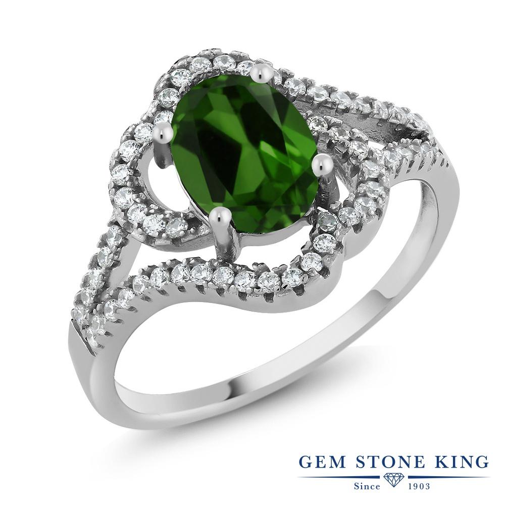 Gem Stone King 1.87カラット 天然 クロムダイオプサイド 指輪 リング レディース シルバー925 大粒 カクテル 天然石 金属アレルギー対応