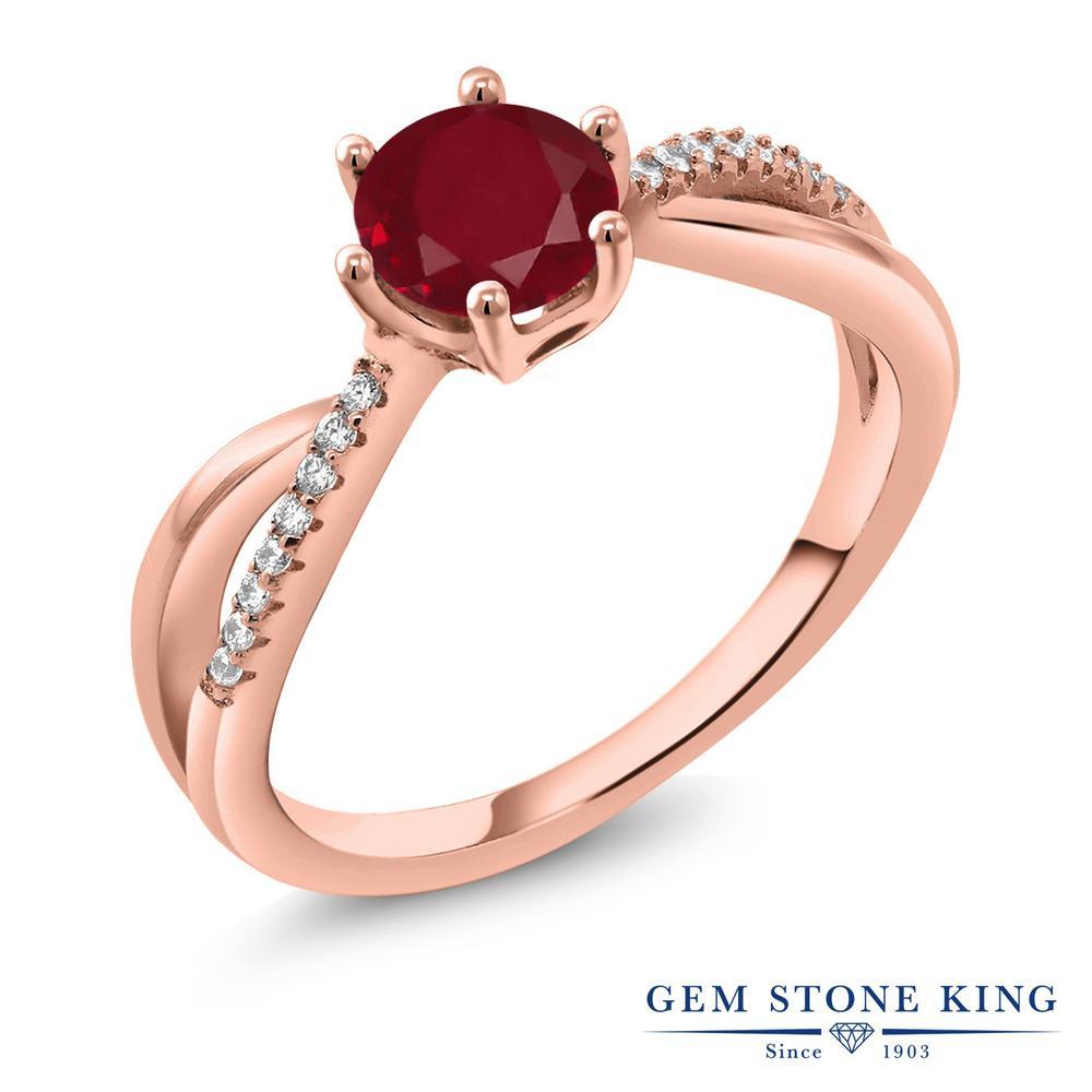Gem Stone King 1.19カラット 天然 ルビー シルバー925 ピンクゴールドコーティング 指輪 リング レディース 大粒 マルチストーン 天然石 7月 誕生石 金属アレルギー対応 誕生日プレゼント