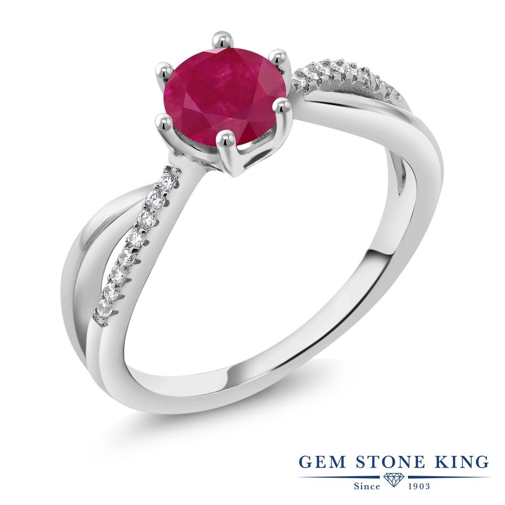 Gem Stone King 1.24カラット 天然 ルビー シルバー925 指輪 リング レディース 大粒 インフィニティ マルチストーン 天然石 7月 誕生石 金属アレルギー対応 誕生日プレゼント