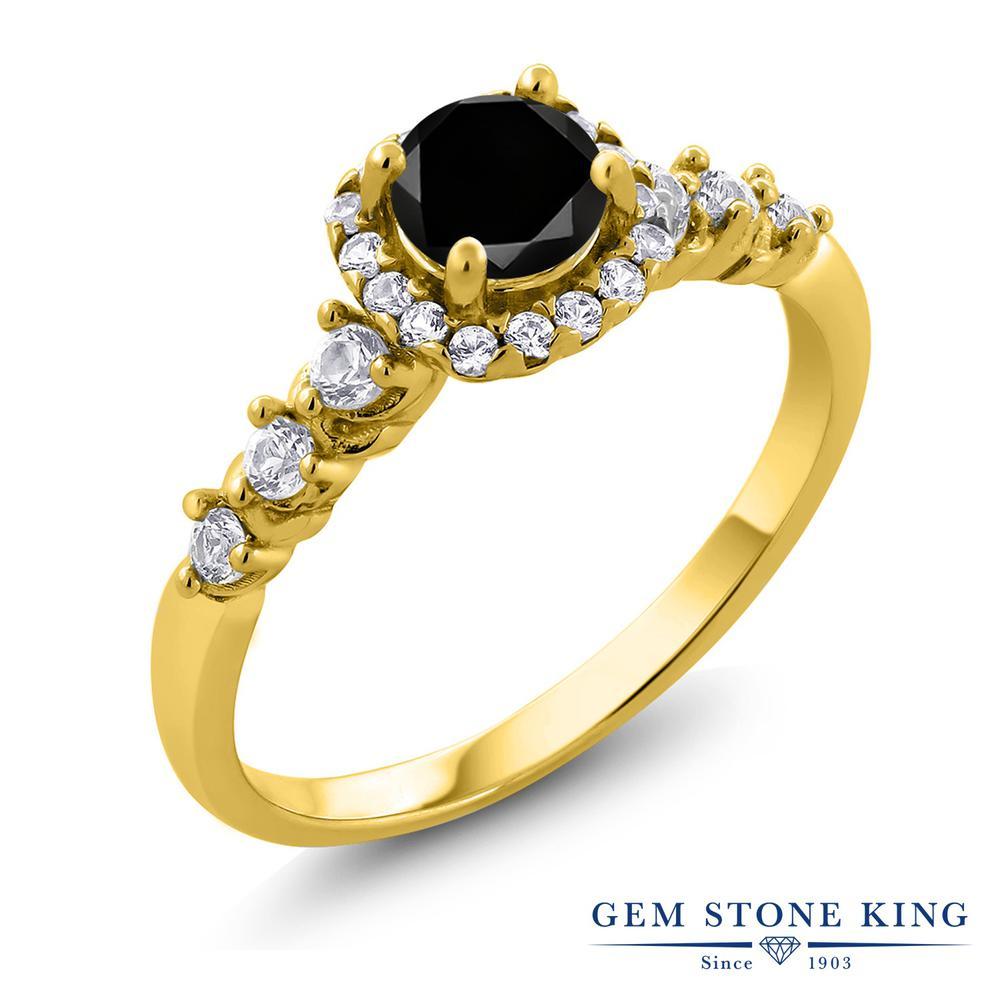 Gem Stone King 0.97カラット 天然ブラックダイヤモンド 合成ホワイトサファイア (ダイヤのような無色透明) シルバー925 イエローゴールドコーティング 指輪 リング レディース ブラック ダイヤ ヘイロー 天然石 4月 誕生石 金属アレルギー対応 誕生日プレゼント