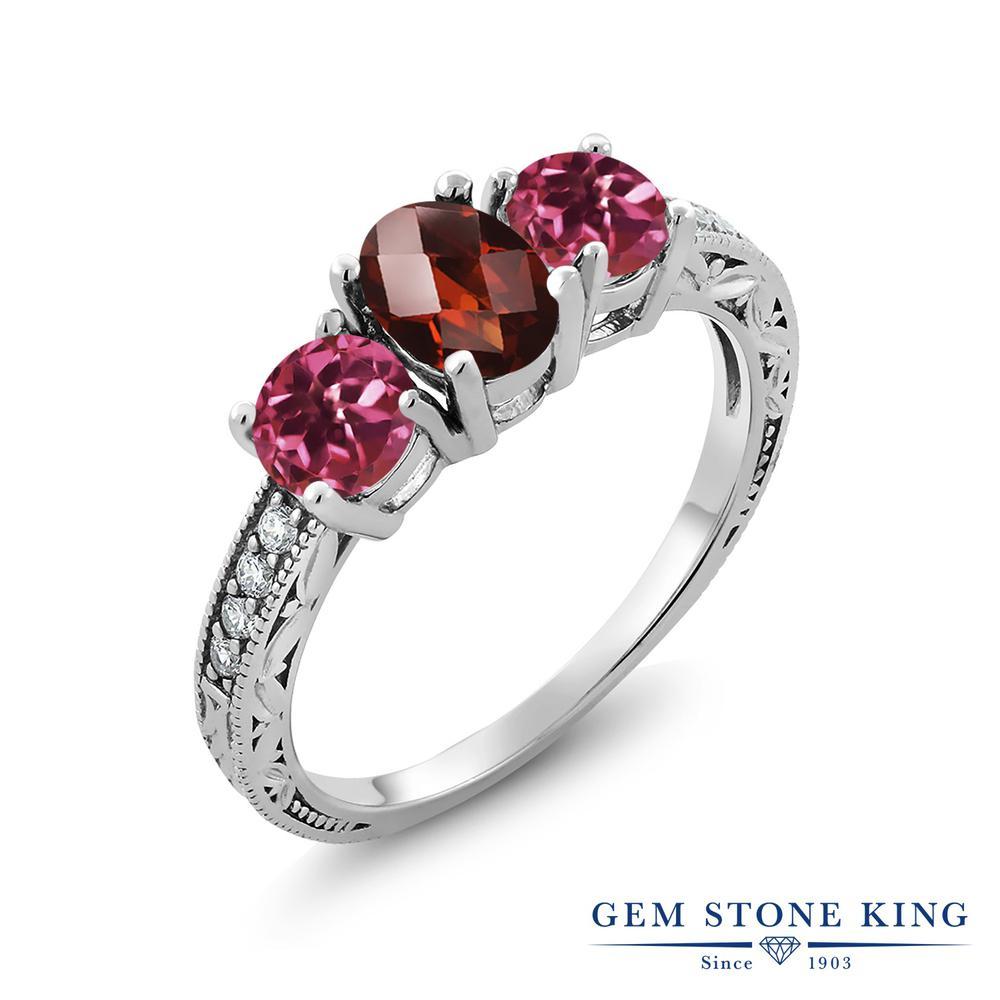 Gem Stone King 2.12カラット 天然 ガーネット 天然 ピンクトルマリン シルバー925 指輪 リング レディース 大粒 スリーストーン 天然石 1月 誕生石 金属アレルギー対応 誕生日プレゼント