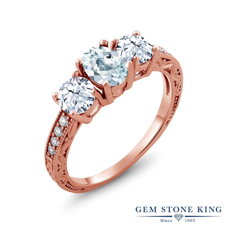 Gem Stone King 2.37カラット 天然 アクアマリン 指輪 リング レディース シルバー925 ピンクゴールド 加工 スリーストーン 天然石 3月 誕生石 金属アレルギー対応