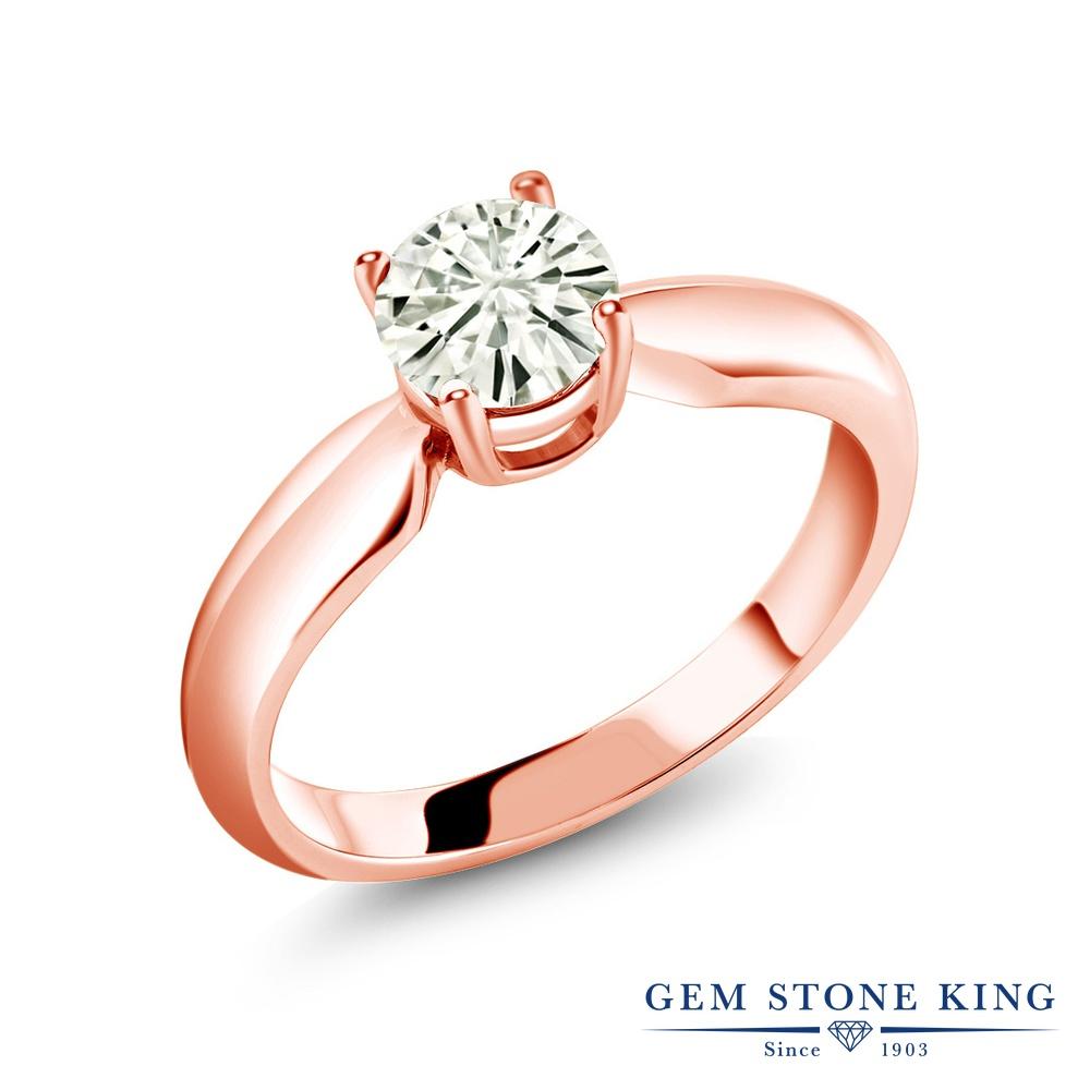 Gem Stone King 0.8カラット Forever Classic モアサナイト Charles & Colvard シルバー925 ピンクゴールドコーティング 指輪 リング レディース モアッサナイト 一粒 シンプル ソリティア 金属アレルギー対応 誕生日プレゼント