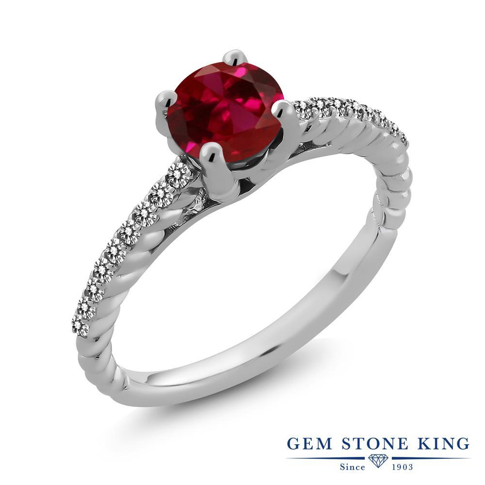 Gem Stone King 1.77カラット 合成ルビー 天然 ダイヤモンド シルバー925 指輪 リング レディース 大粒 マルチストーン 金属アレルギー対応 誕生日プレゼント