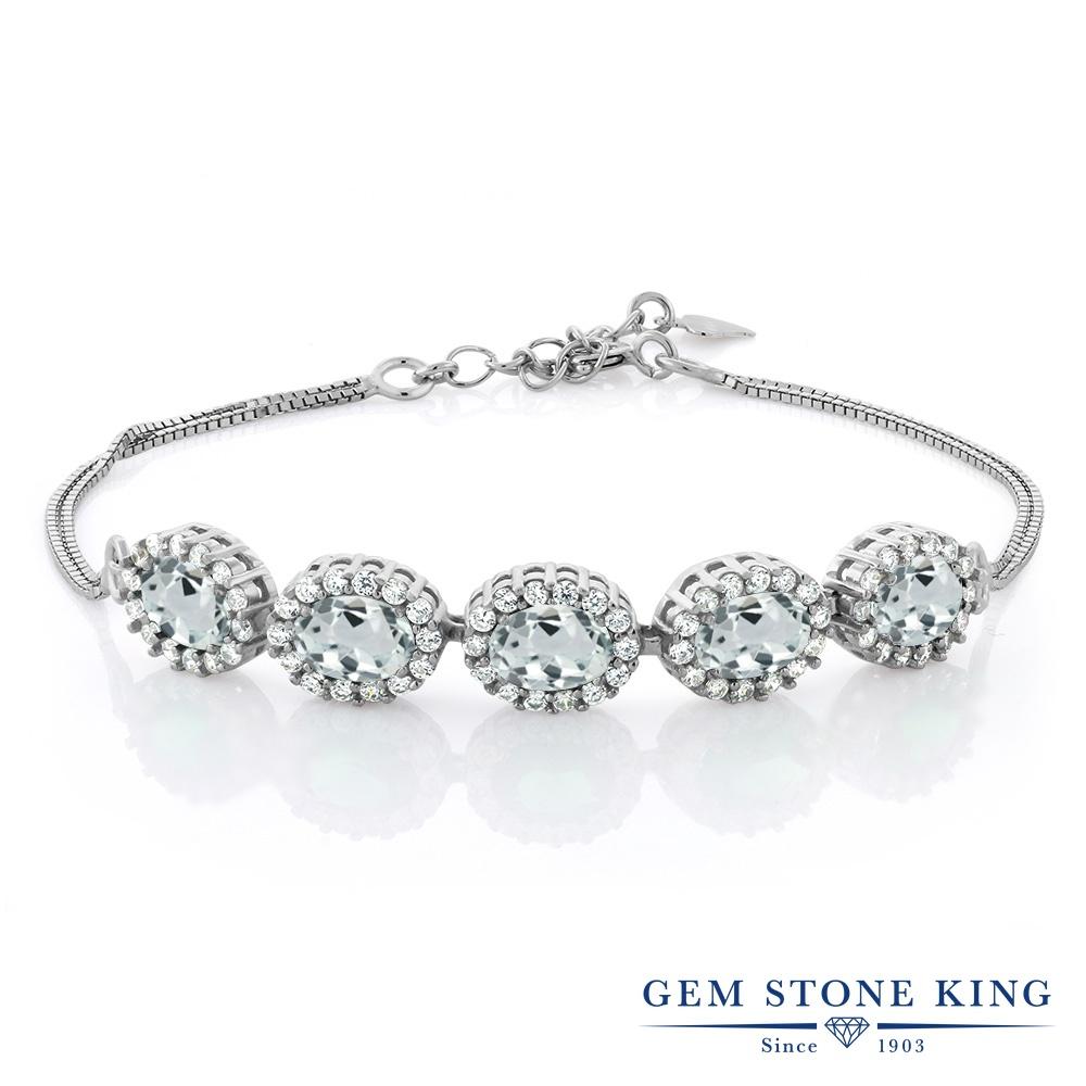 Gem Stone King 4.64カラット 天然 アクアマリン シルバー925 ブレスレット テニスブレスレット レディース 大ぶり 天然石 3月 誕生石 金属アレルギー対応 誕生日プレゼント