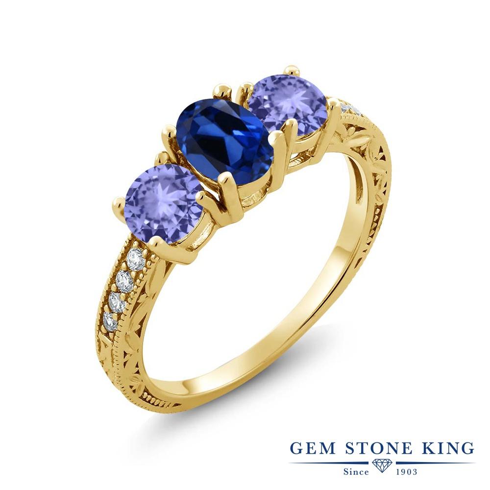 Gem Stone King 1.94カラット シミュレイテッド サファイア 天然石 タンザナイト 指輪 リング レディース シルバー925 イエローゴールド 加工 スリーストーン 金属アレルギー対応