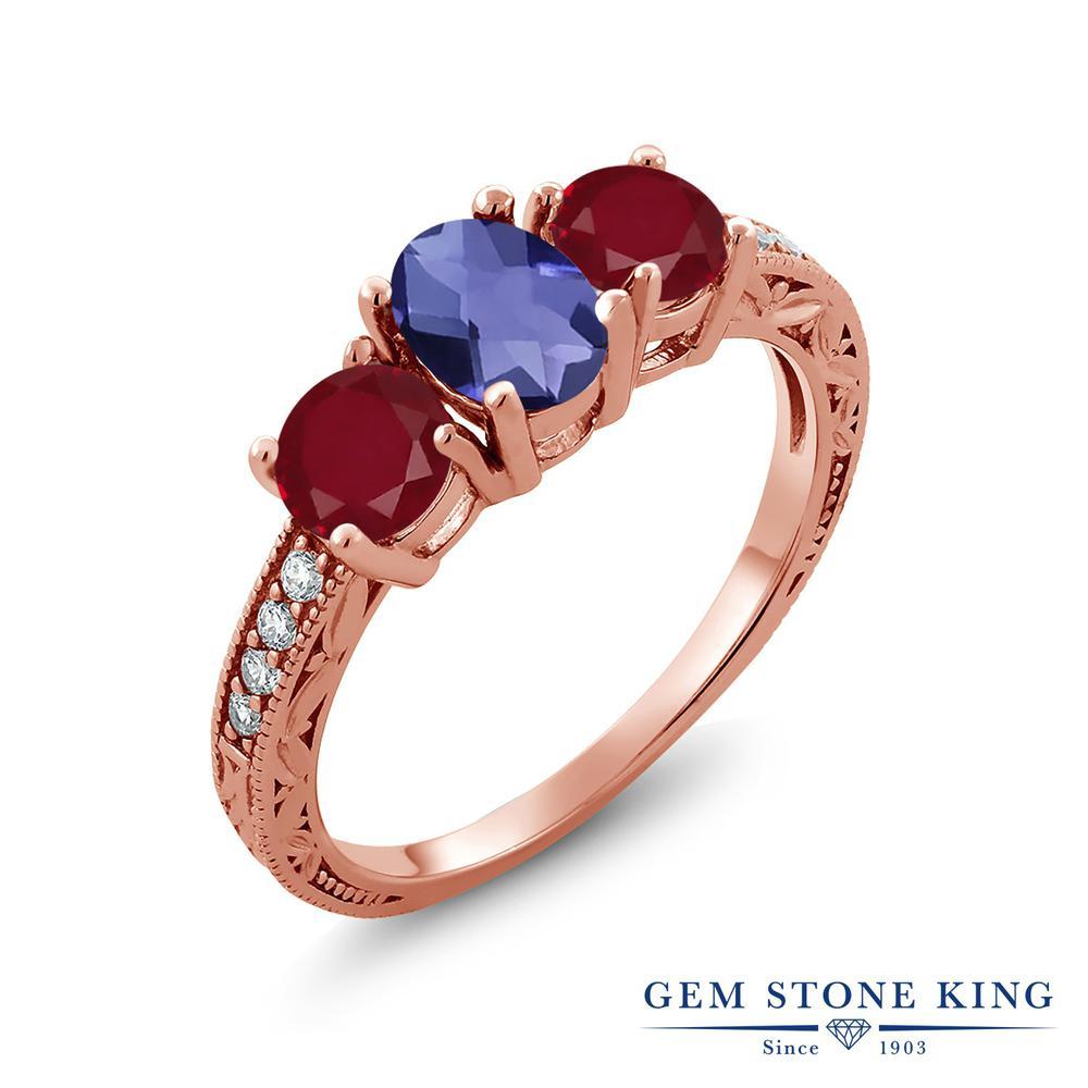 【10%OFF】 Gem Stone King 1.87カラット 天然 アイオライト (ブルー) ルビー 指輪 リング レディース シルバー925 ピンクゴールド 加工 スリーストーン 天然石 クリスマスプレゼント 女性 彼女 妻 誕生日