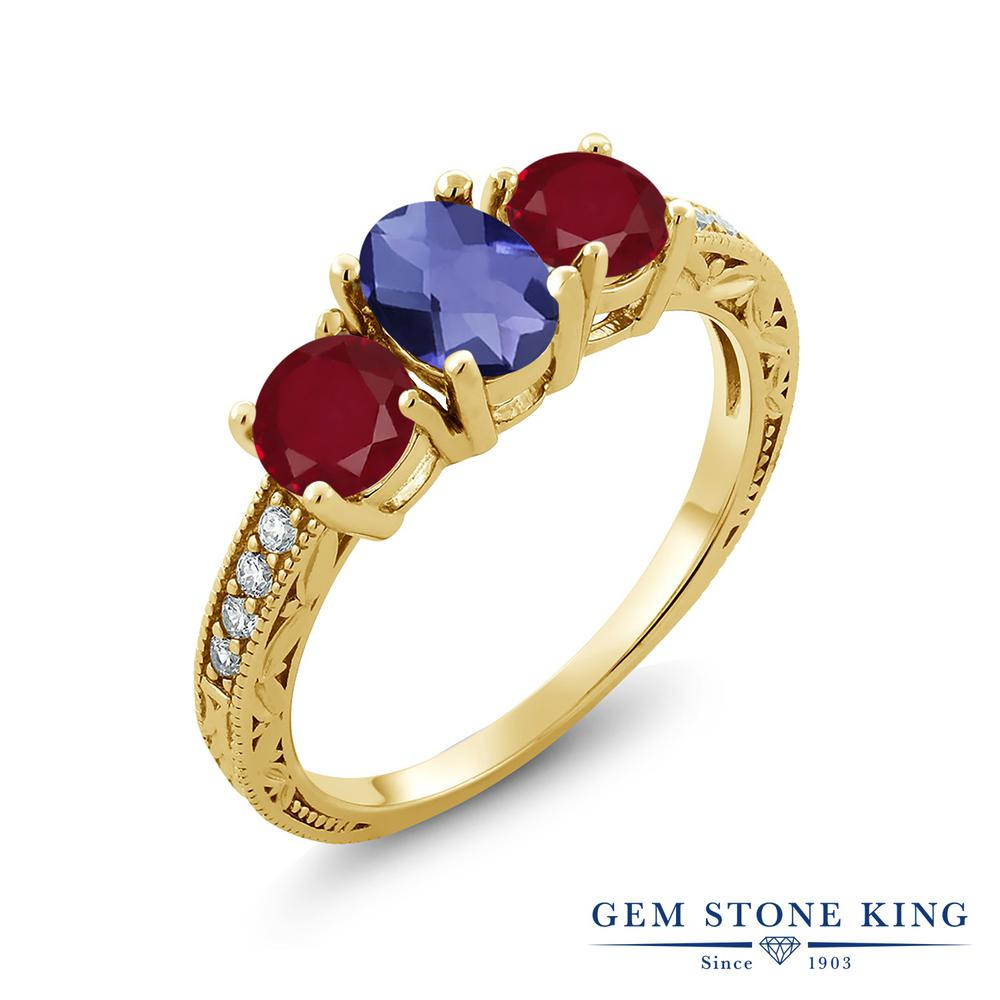 【10%OFF】 Gem Stone King 1.87カラット 天然 アイオライト (ブルー) ルビー 指輪 リング レディース シルバー925 イエローゴールド 加工 スリーストーン 天然石 クリスマスプレゼント 女性 彼女 妻 誕生日