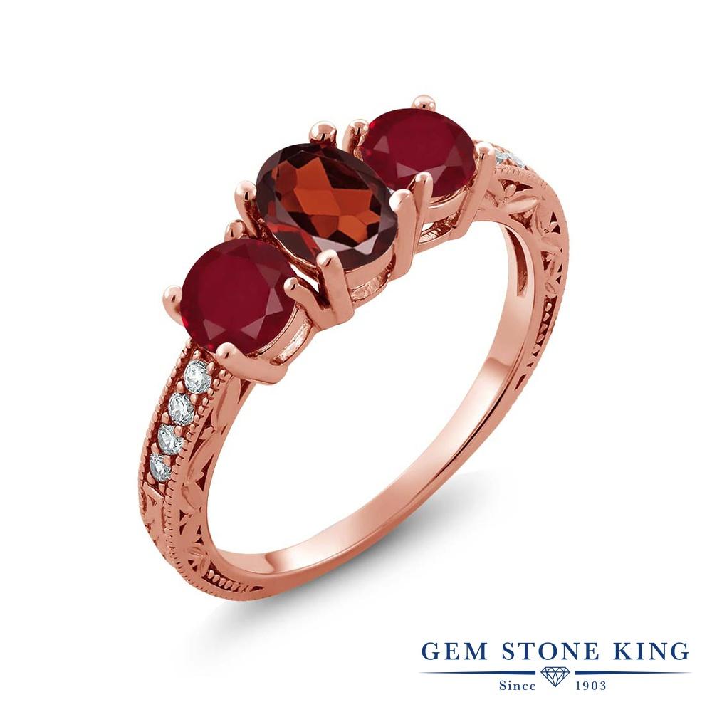 Gem Stone King 2.12カラット 天然 ガーネット 天然 ルビー シルバー925 ピンクゴールドコーティング 指輪 リング レディース スリーストーン 天然石 1月 誕生石 金属アレルギー対応 誕生日プレゼント