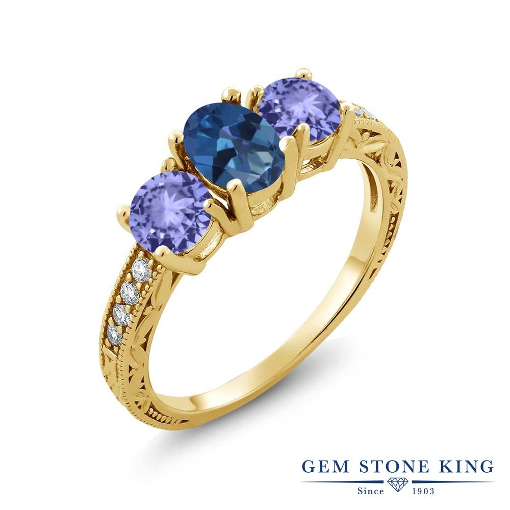 Gem Stone King 1.84カラット 天然 ミスティックトパーズ (サファイアブルー) 天然石 タンザナイト 指輪 リング レディース シルバー925 イエローゴールド 加工 スリーストーン 金属アレルギー対応