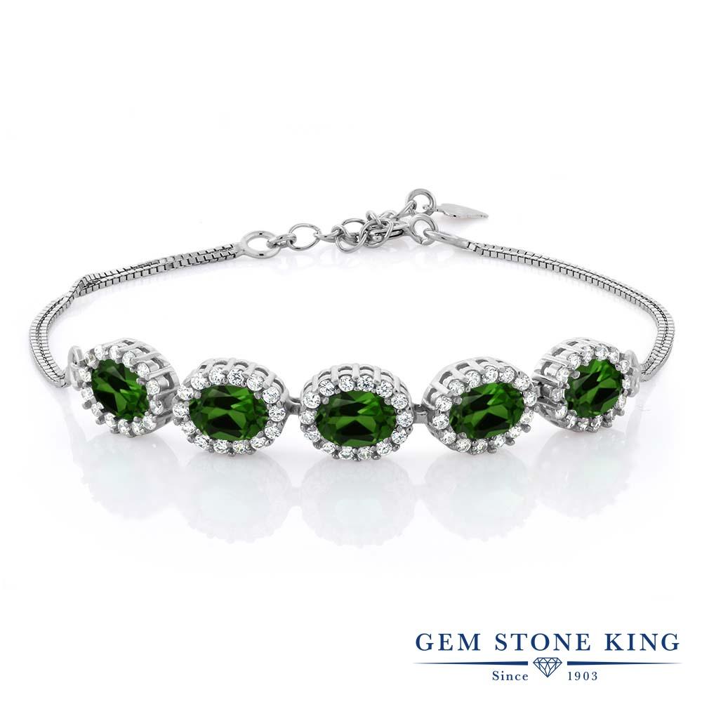 Gem Stone King 5.04カラット 天然 クロムダイオプサイド シルバー925 ブレスレット テニスブレスレット レディース 大ぶり 天然石 金属アレルギー対応 誕生日プレゼント