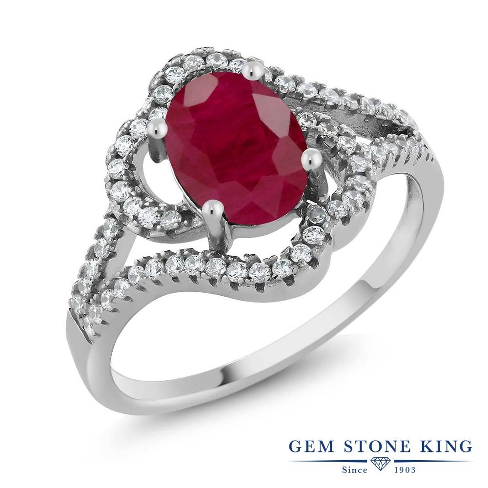 Gem Stone King 2.56カラット 天然 ルビー シルバー925 指輪 リング レディース 大粒 カクテル 天然石 7月 誕生石 金属アレルギー対応 誕生日プレゼント