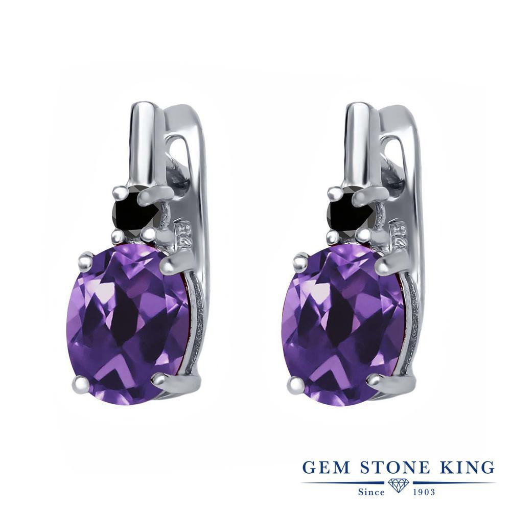 Gem Stone King 3.45カラット 天然 アメジスト 天然ブラックダイヤモンド シルバー925 ピアス レディース 大粒 ぶら下がり レバーバック 天然石 2月 誕生石 金属アレルギー対応 誕生日プレゼント