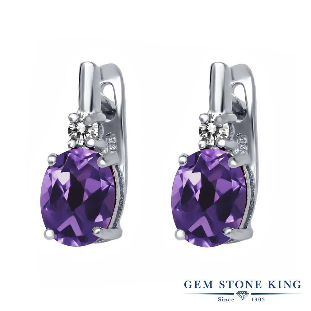 Gem Stone King 3.45カラット 天然 アメジスト 天然 ダイヤモンド シルバー925 ピアス レディース 大粒 ぶら下がり レバーバック 天然石 2月 誕生石 金属アレルギー対応 誕生日プレゼント