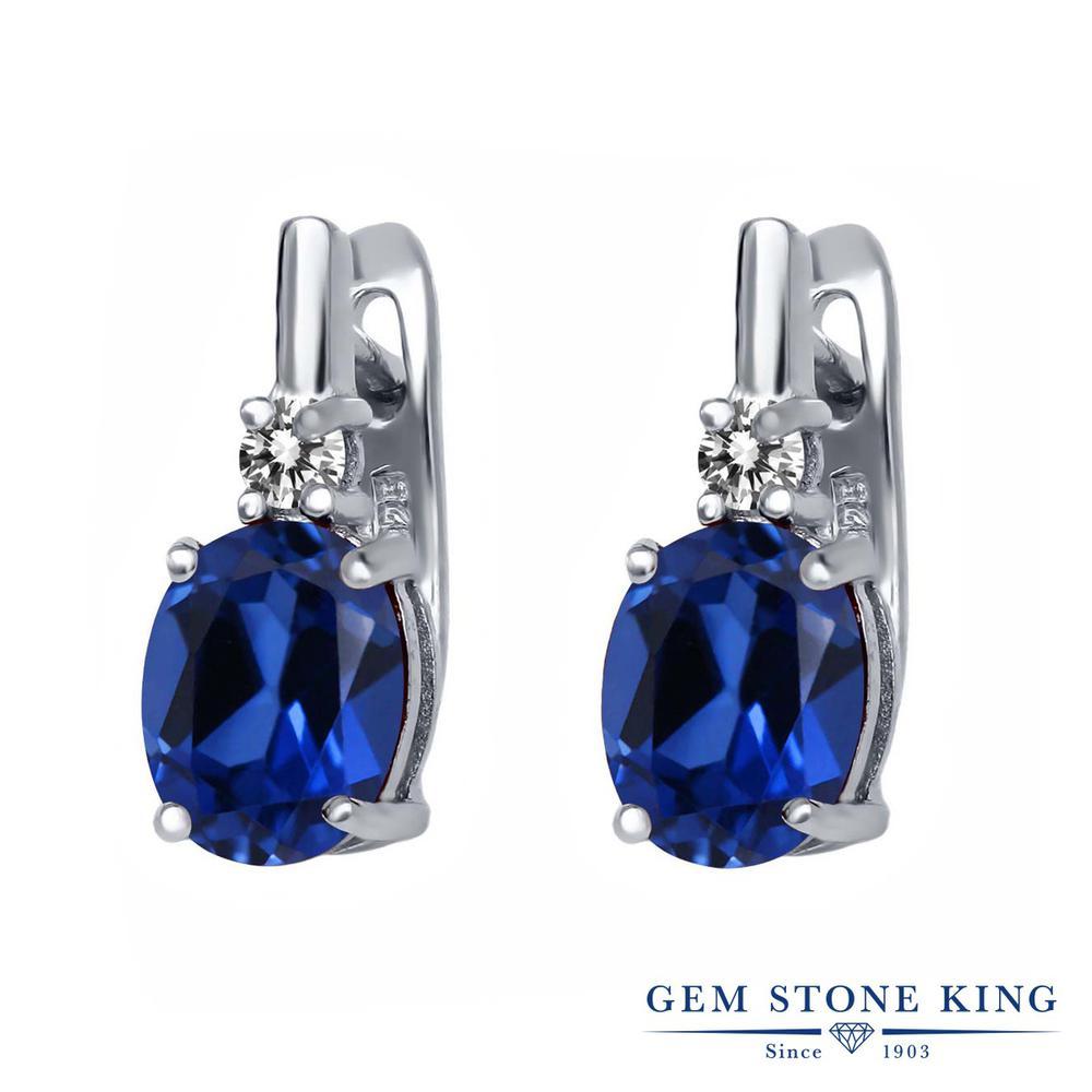 Gem Stone King 4.73カラット シミュレイテッド サファイア 天然 ダイヤモンド シルバー925 ピアス レディース 大粒 ぶら下がり レバーバック 金属アレルギー対応 誕生日プレゼント