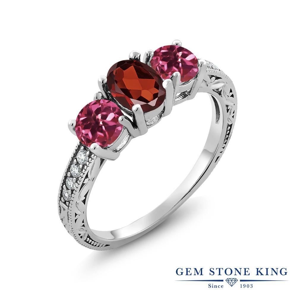 Gem Stone King 2.11カラット 天然 ガーネット 天然 ピンクトルマリン シルバー925 指輪 リング レディース スリーストーン 天然石 1月 誕生石 金属アレルギー対応 誕生日プレゼント