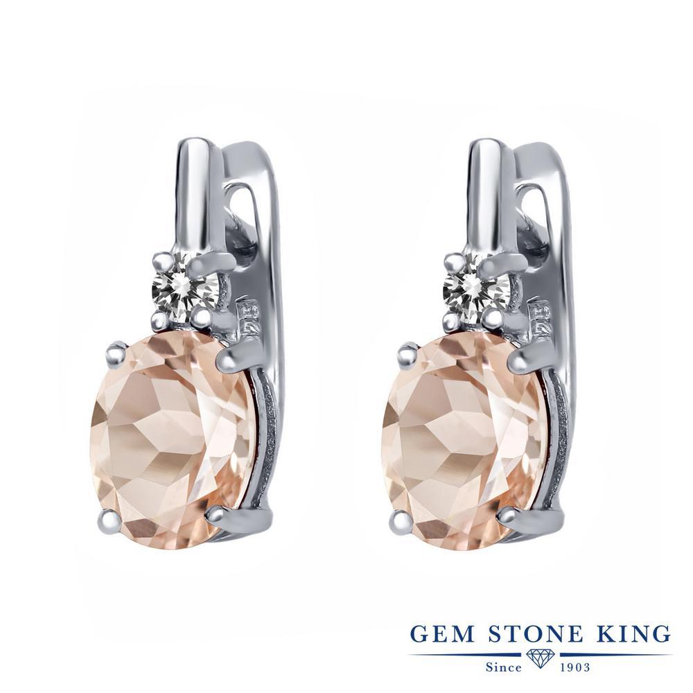 Gem Stone King 3.33カラット 天然モルガナイト(ピーチ) シルバー925 天然ダイヤモンド ピアス レディース 大粒 天然石 誕生石 誕生日プレゼント