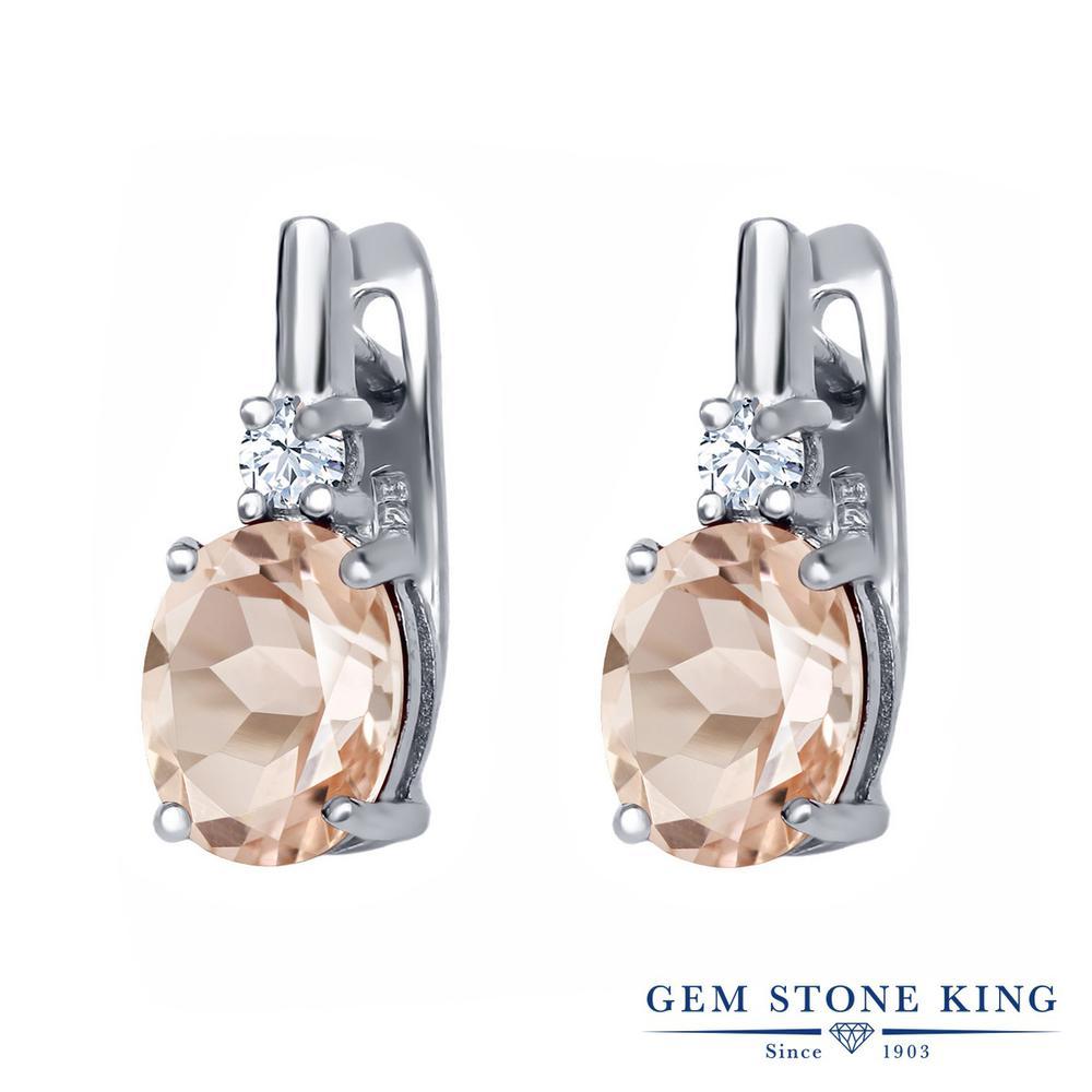Gem Stone King 3.36カラット 天然 モルガナイト (ピーチ) 天然 トパーズ (無色透明) シルバー925 ピアス レディース 大粒 ぶら下がり レバーバック 天然石 3月 誕生石 金属アレルギー対応 誕生日プレゼント