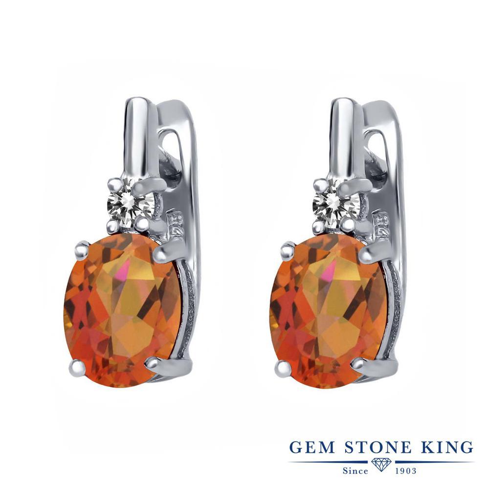 Gem Stone King 4.73カラット 天然 ミスティッククォーツ (トワイライトオレンジ) 天然 ダイヤモンド シルバー925 ピアス レディース 大粒 ぶら下がり レバーバック 天然石 金属アレルギー対応 誕生日プレゼント