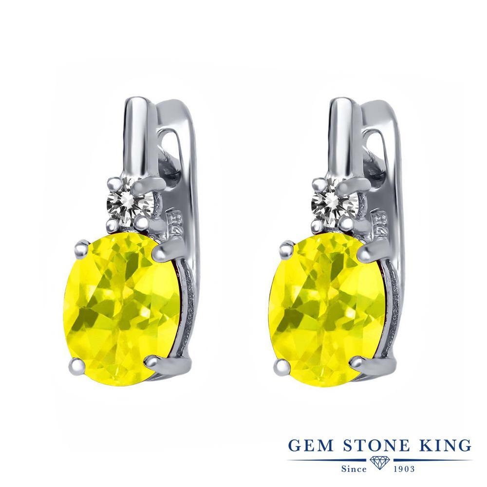 Gem Stone King 4.73カラット 天然石 ミスティックトパーズ (イエロー) 天然 ダイヤモンド シルバー925 ピアス レディース 大粒 ぶら下がり レバーバック 天然石 金属アレルギー対応 誕生日プレゼント