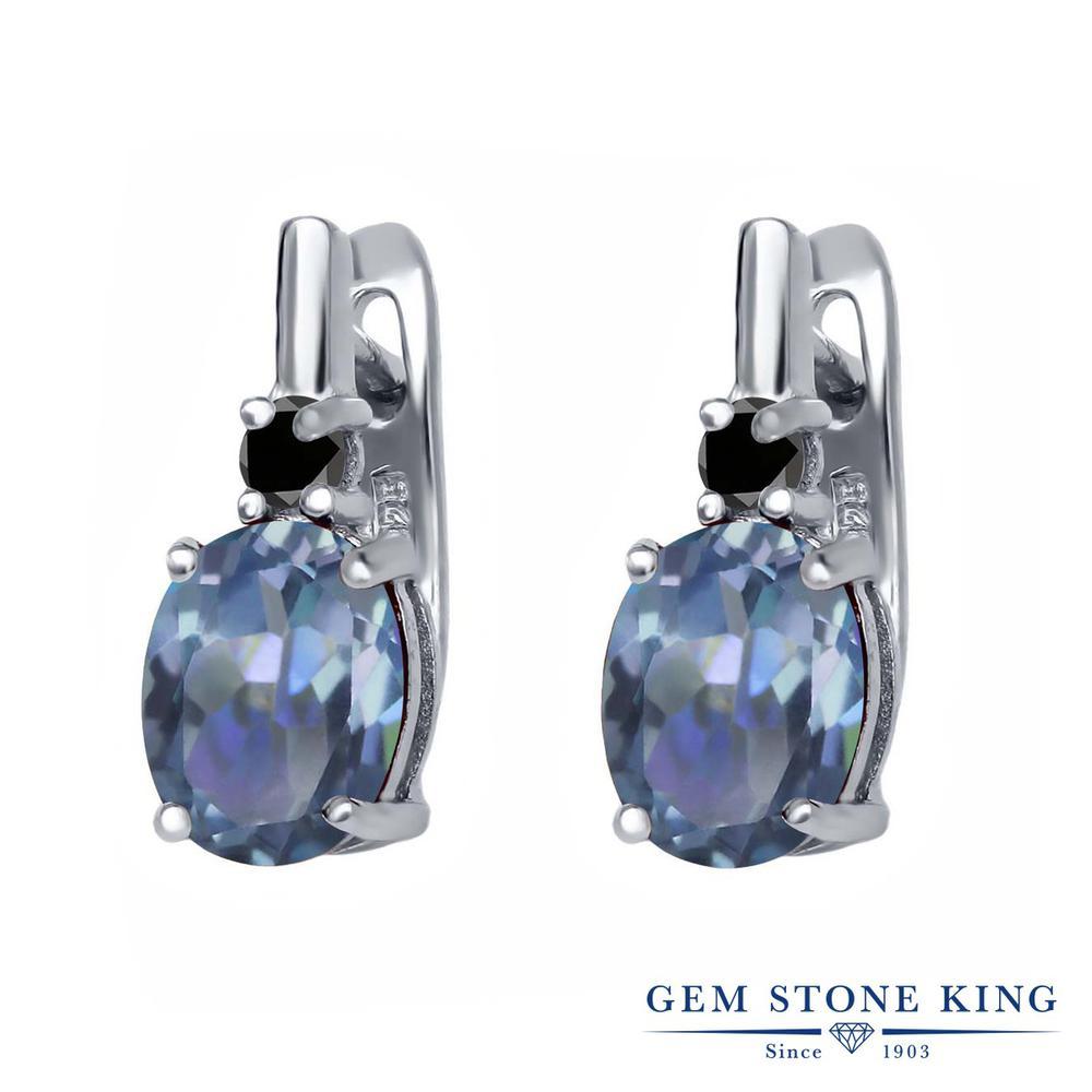 Gem Stone King 4.73カラット 天然石 ミスティックトパーズ (カシオペア) 天然ブラックダイヤモンド シルバー925 ピアス レディース 大粒 ぶら下がり レバーバック 天然石 金属アレルギー対応 誕生日プレゼント