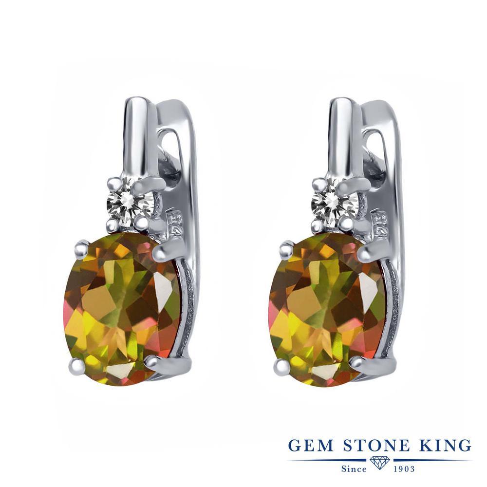 Gem Stone King 4.73カラット 天然石 ミスティックトパーズ (マンゴーオレンジ) 天然 ダイヤモンド シルバー925 ピアス レディース 大粒 ぶら下がり レバーバック 天然石 金属アレルギー対応 誕生日プレゼント